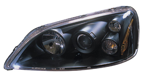 Honda Civic 2001-2003 Projector Headlights (Black) TYC