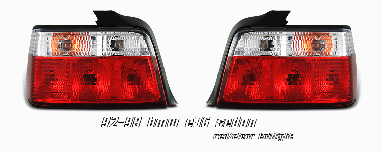Bmw 3 Series 1992-1998 4dr Red / Clear Euro Tail Lights