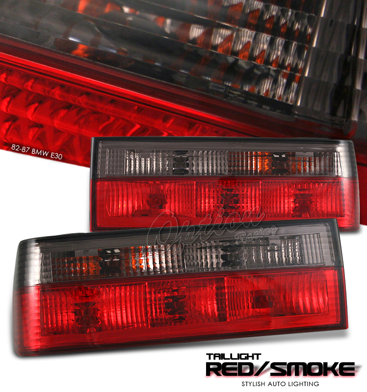 Bmw 3 Series 1982-1987  Red / Clear Euro Tail Lights