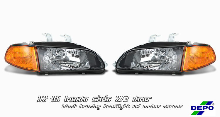 Honda Civic 1992-1995 2/3dr Black W/amber Corner Euro Crystal Headlights