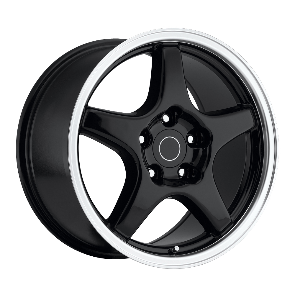 Chevrolet Corvette 1984-1996 17x9.5 5x4.75 +38 C4 Zr1 Style Wheel - Black Machine Lip With Cap