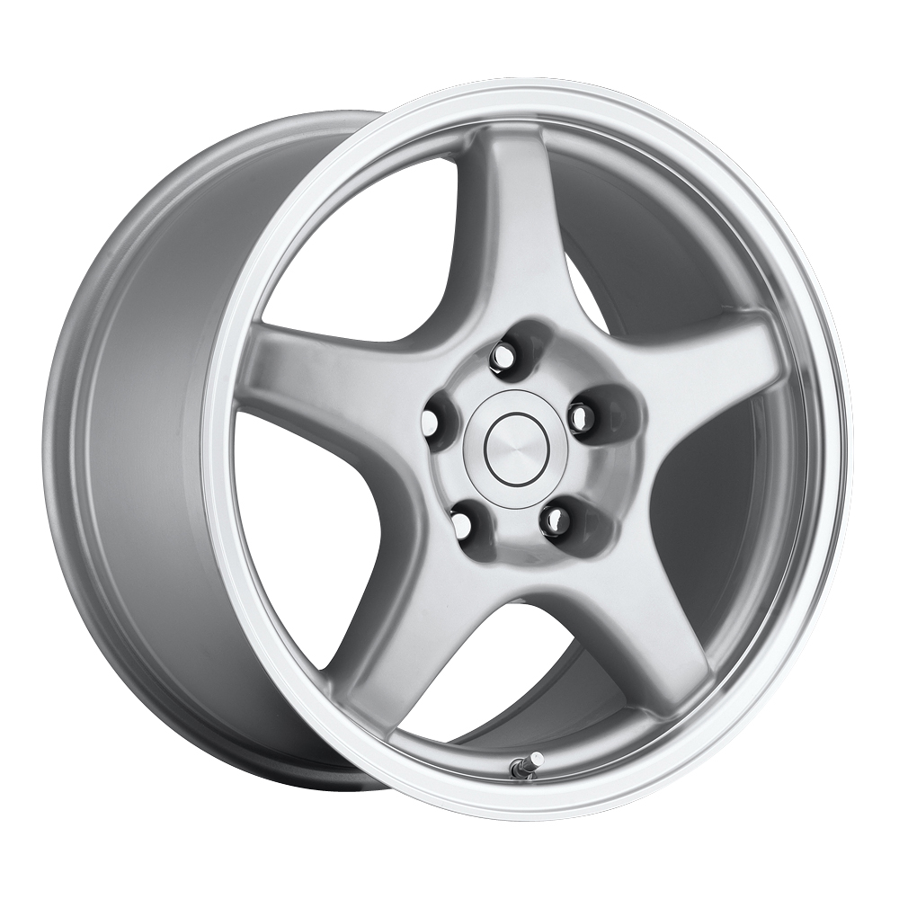 Chevrolet Corvette 1984-1996 17x9.5 5x4.75 +38 C4 Zr1 Style Wheel - Silver Machine Lip With Cap