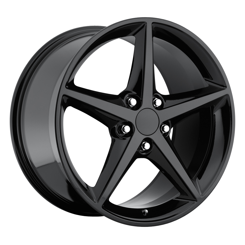 Chevrolet Corvette 1997-2012 18x8.5 5x4.75 +56 2011 C6 Style Wheel - Gloss Black With Cap