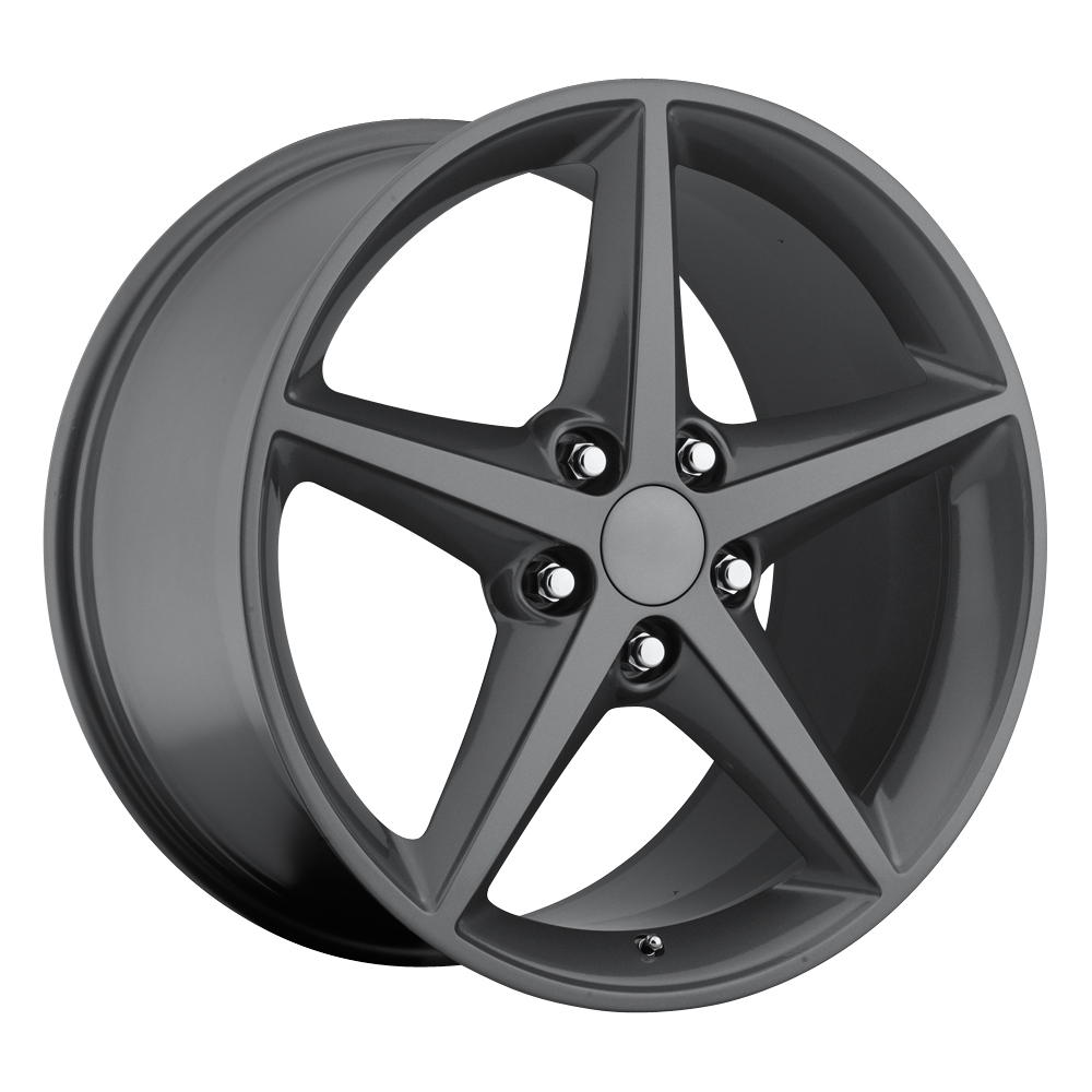 Chevrolet Corvette 1997-2012 18x8.5 5x4.75 +56 2011 C6 Style Wheel - Comp Grey Face With Cap