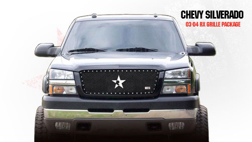 Chevrolet Silverado 2500hd/3500hd 2003-2004 - Rbp Rx Series Studded Frame Main Grille Black 1pc