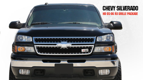 Chevrolet Silverado 2500hd/3500hd 2005-2006 - Rbp Rx Series Studded Frame Main Grille Black 2pc