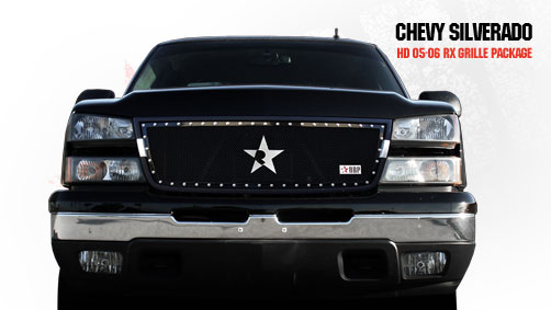 Chevrolet Silverado 2500hd/3500hd 2005-2006 - Rbp Rx Series Studded Frame Main Grille Black 1pc