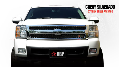 Chevrolet Silverado 1500 2007-2011 - Rbp Rx Series Studded Frame Main Grille Black 2pc