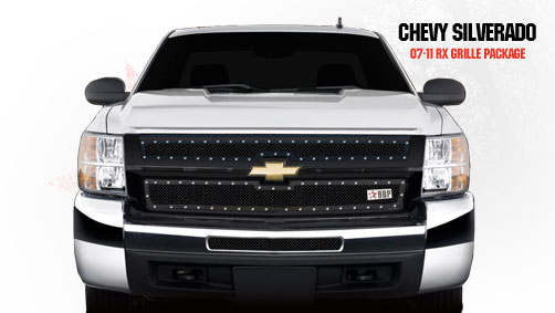 Chevrolet Silverado 2500hd/3500hd 2007-2010 - Rbp Rx Series Studded Frame Main Grille Black 2pc