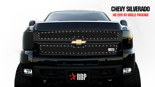 Chevrolet Silverado 2500hd/3500hd 2011-2012 - Rbp Rx Series Studded Frame Main Grille Black 2pc