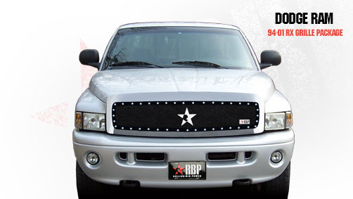 dodge ram 1500 2500 3500 1994 2001 rbp rx series studded frame main grille black 1pc by rbp 251456 slickcar com