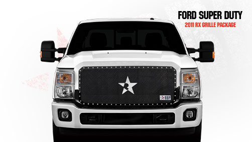 Ford Super Duty (except Harley Edition) 2011-2012 - Rbp Rx Series Studded Frame Main Grille Black 1pc