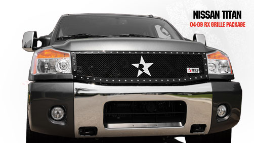 Nissan Titan  2004-2009 - Rbp Rx Series Studded Frame Main Grille Black 1pc