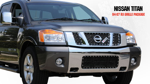 Nissan Titan  2004-2007 - Rbp Rx Series Studded Frame Main Grille Black 3pc