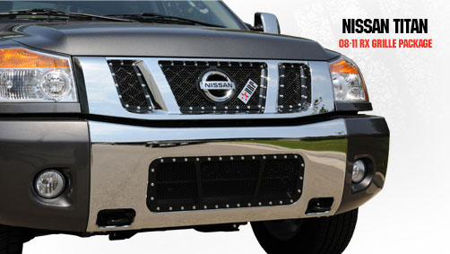 Nissan Titan  2008-2011 - Rbp Rx Series Studded Frame Main Grille Black 3pc