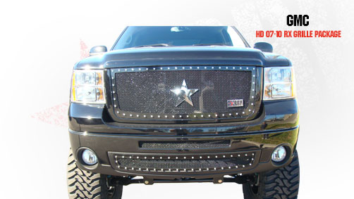 Gmc Sierra 2500hd, 3500 2007-2010 - Rbp Rx Series Studded Frame Bumper Grille Black 2pc