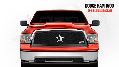 Dodge Ram 1500 2009-2011 - Rbp Rl Series Plain Frame Main Grille Black 1pc