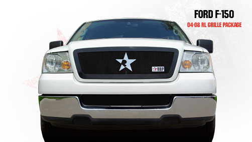 Ford F150 (except Harley Edition) 2004-2008 - Rbp Rl Series Plain Frame Main Grille Black 1pc