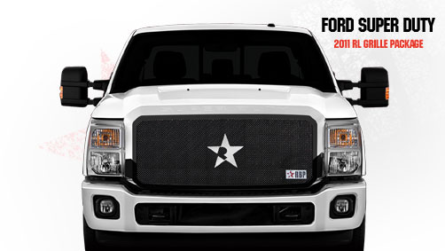 Ford Super Duty (except Harley Edition) 2011-2012 - Rbp Rl Series Plain Frame Main Grille Black 1pc
