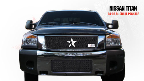 Nissan Titan  2004-2007 - Rbp Rl Series Plain Frame Main Grille Black 3pc
