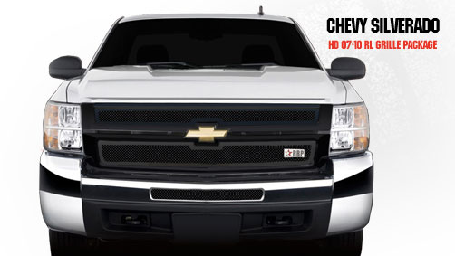 Chevrolet Silverado 2500hd/3500hd 2007-2010 - Rbp Rl Series Plain Frame Bumper Grille Black 2pc