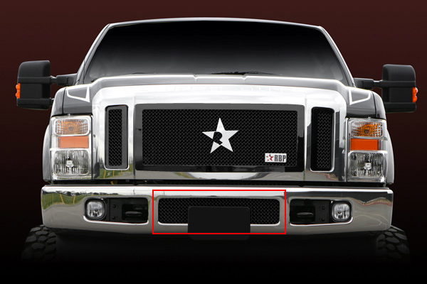 Ford Super Duty (except Harley Edition) 2008-2010 - Rbp Rl Series Center Section - Mesh Bumper Grille Black