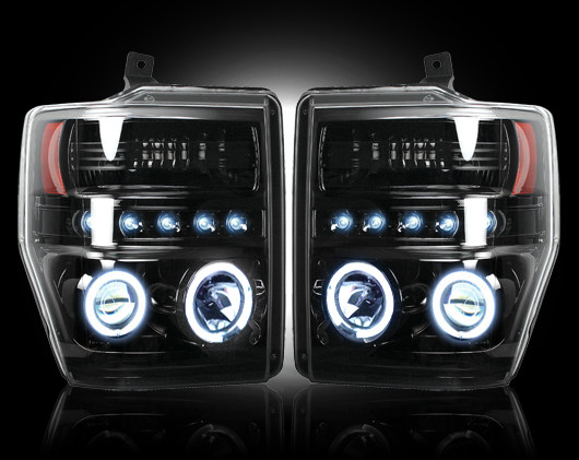 Ford Super Duty 2008-2010 Black Projector Headlights