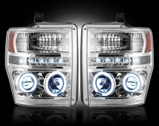Ford Super Duty 2008-2010 Chrome Projector Headlights