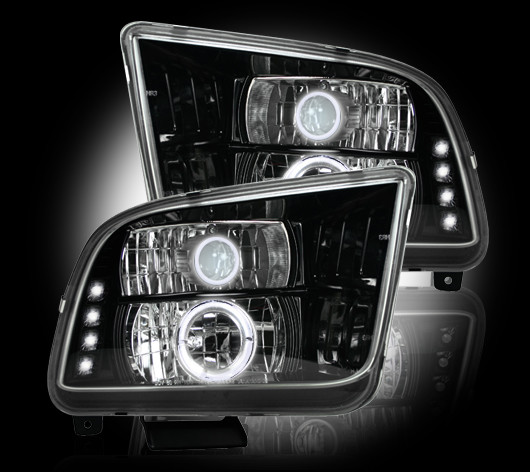 Ford Mustang 2005-2009 Black Projector Headlights