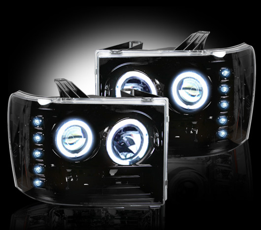 GMC Sierra 2007-2011 Black Projector Headlights