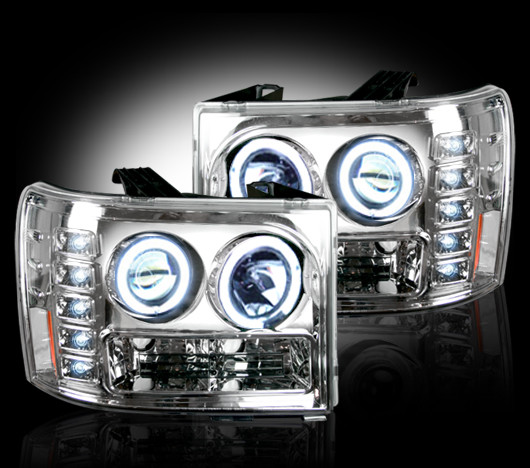 GMC Sierra 2007-2011 Chrome Projector Headlights