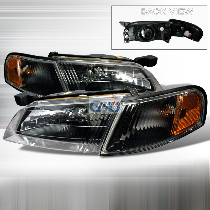 Nissan Altima 1998-1999 Black Euro Headlights