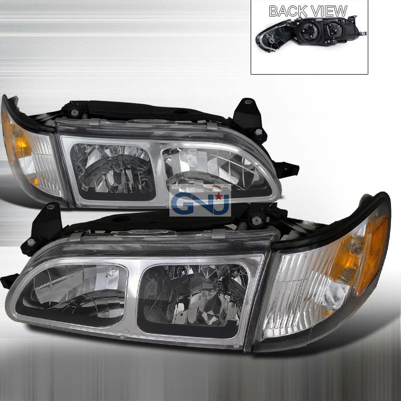 Toyota Corolla 1993-1997 Chrome Euro Headlights With Corner Lights