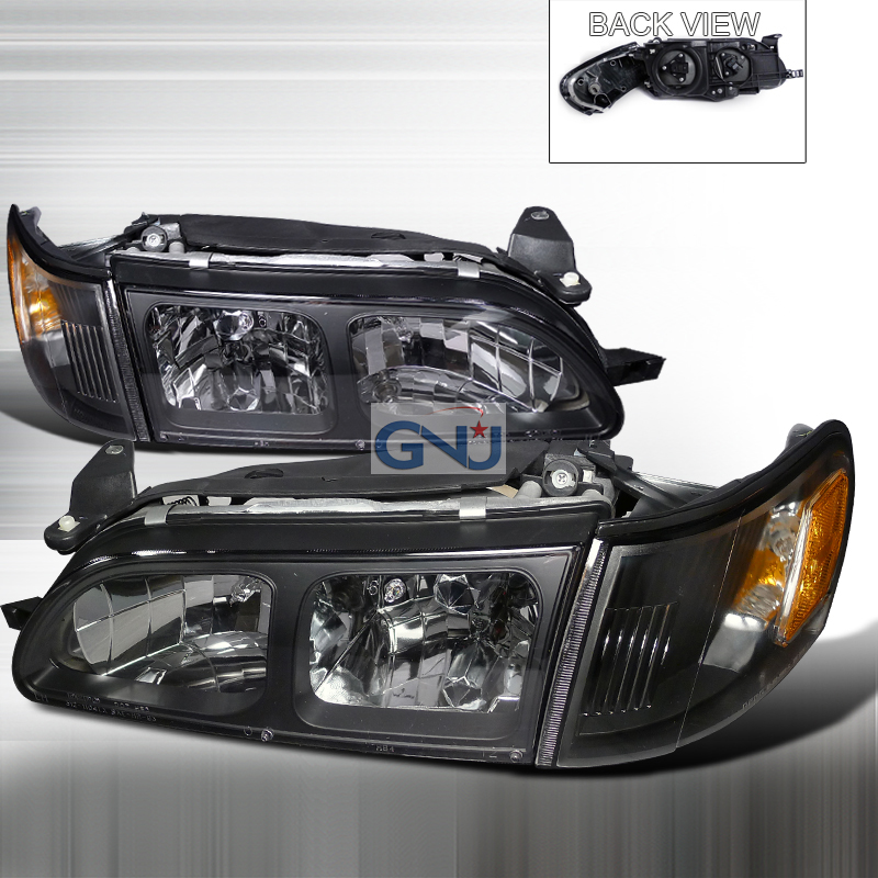 Toyota Corolla 1993-1997 Black Euro Headlights With Corner Lights