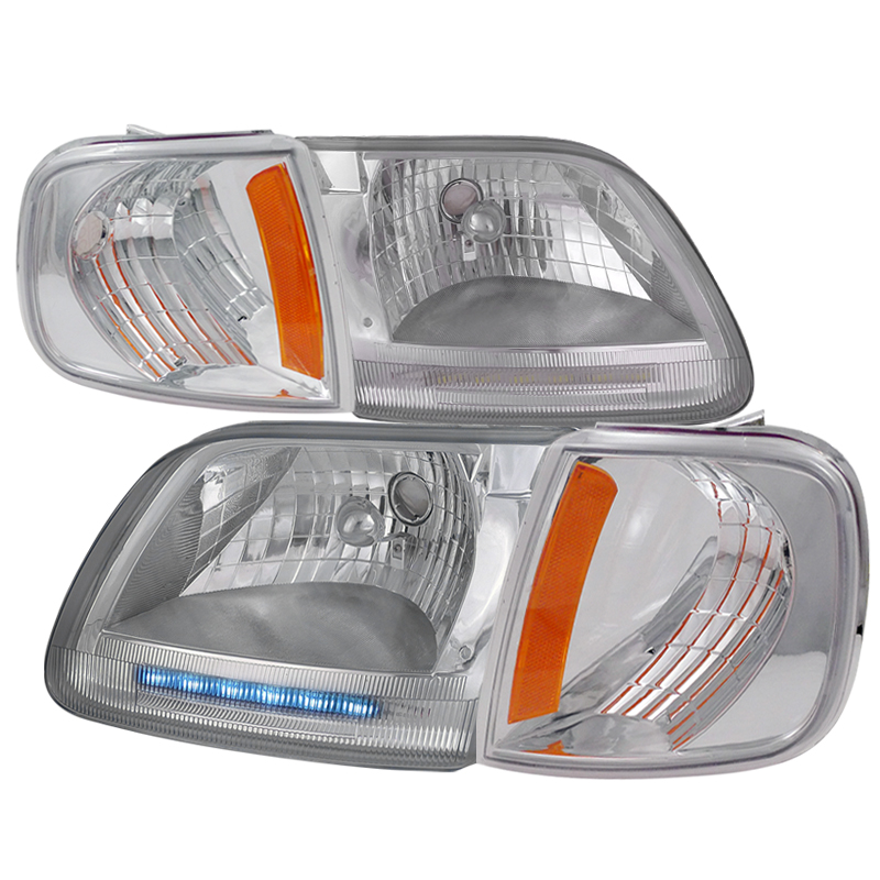 Ford F150 1997-2003 Chrome Euro Headlights With Corner Lights