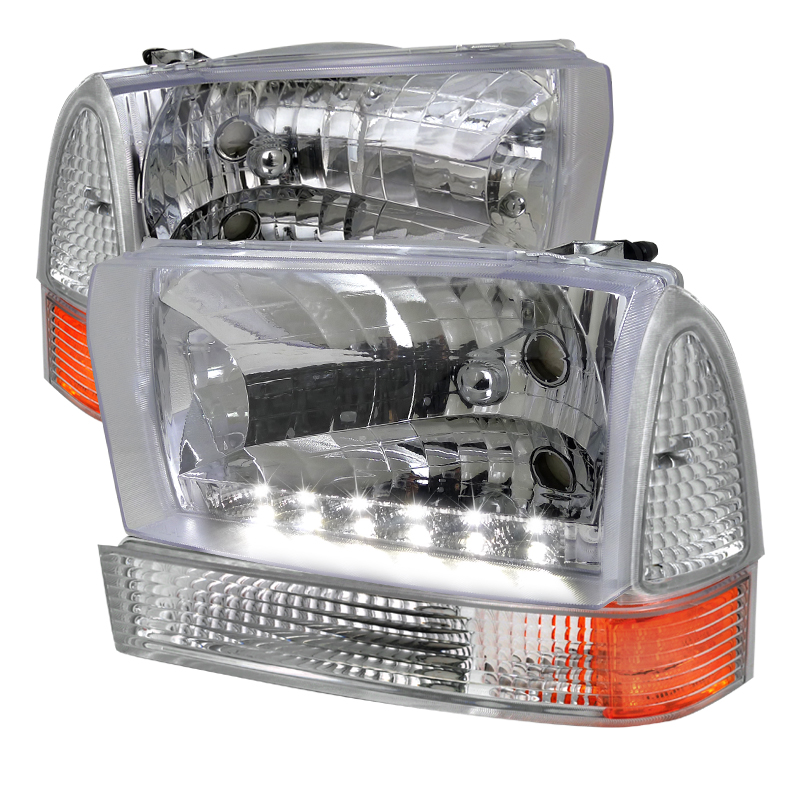 Ford Super Duty 1999-2004 Chrome Euro Headlights With Corner Lights