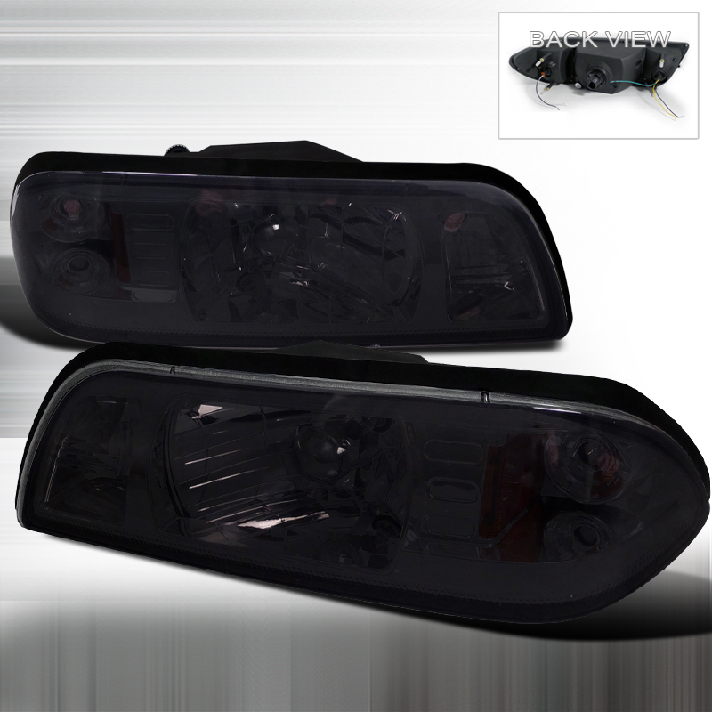 Ford Mustang 1987-1993 Smoke Euro Headlights 1 Piece