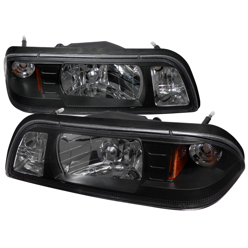 Ford Mustang 1987-1993 Black Euro Headlights 1 Piece