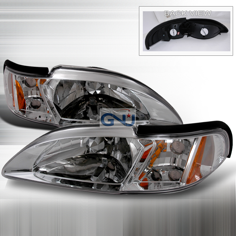 Ford Mustang 1994-1998 Chrome Euro Headlights