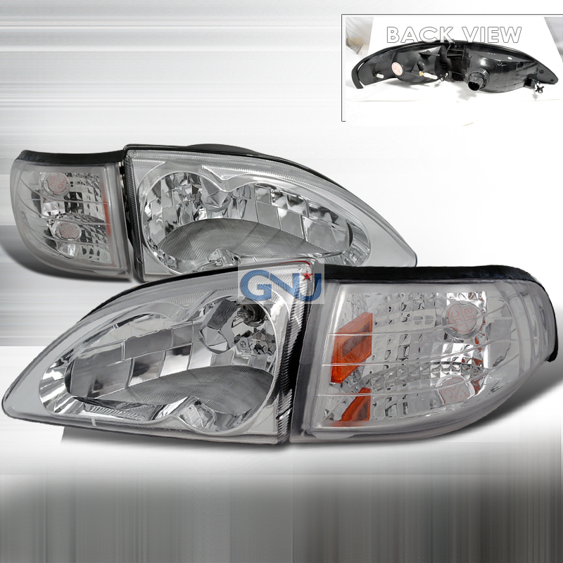 Ford Mustang 1994-1998 Euro Crystal Headlights And Corner Light Combo  - Chrome