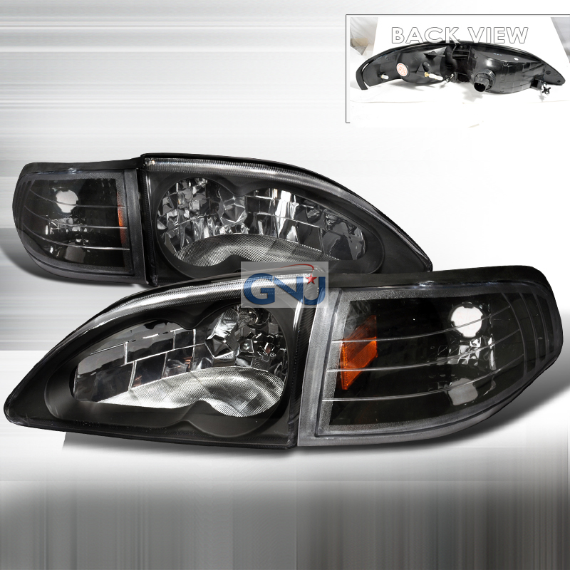 Ford Mustang 1994-1998 Euro Crystal Headlights And Corner Light Combo  - Black