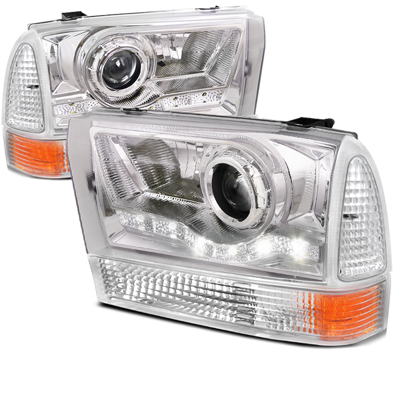 Ford Super Duty  1999-2004 Chrome Halo Projector Headlights With Corner Lights
