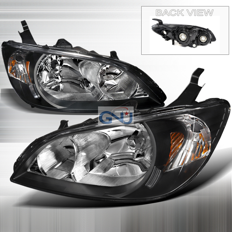 Honda Civic 2004-2005 Black Euro Headlights