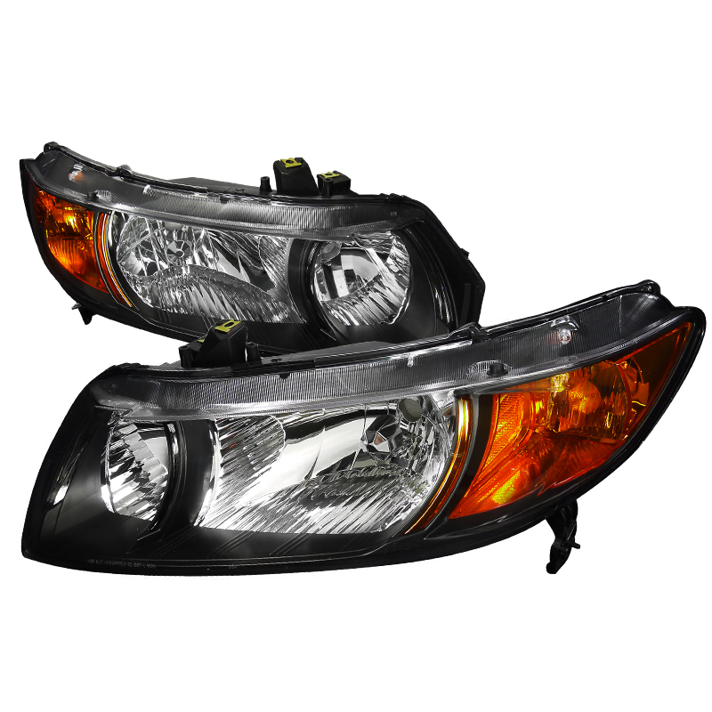 Honda Civic 2006-2010 Black Euro Headlights
