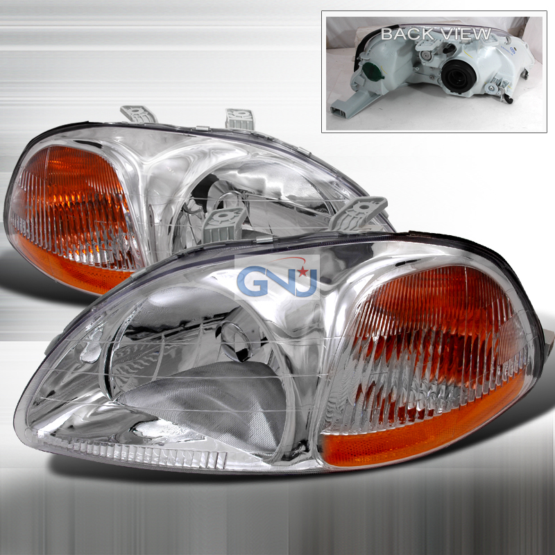 Honda Civic 1996-1998 Chrome Euro Headlights