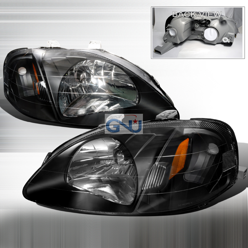 Honda Civic 1999-2000 Black Euro Headlights