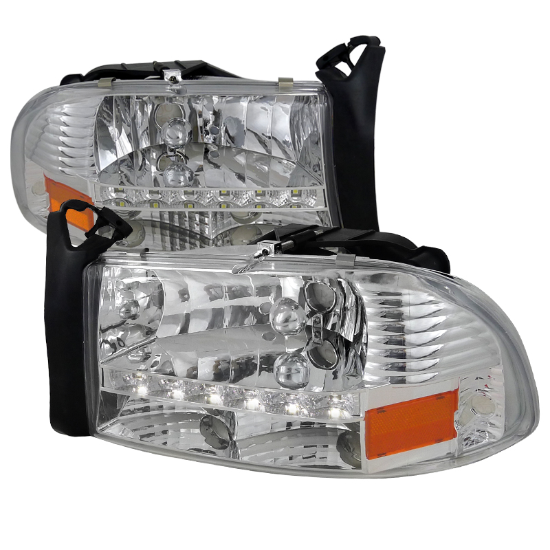 Dodge Dakota 1997-2004 Chrome Euro Headlights With LED'S