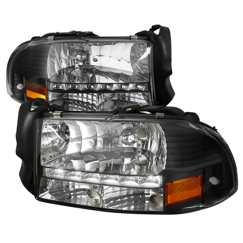 Dodge Durango 1998-2003 Black Euro Headlights With LED'S