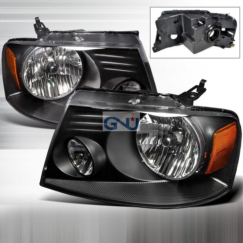 Ford F150 2004-2008 Black Euro Headlights