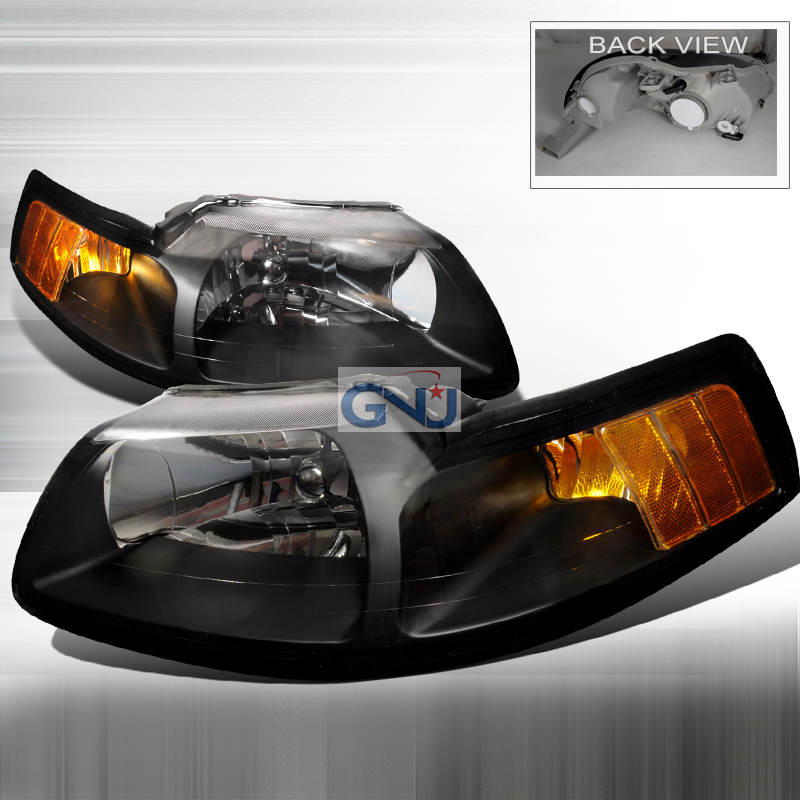 Ford Mustang 1999-2004 Black Euro Headlights